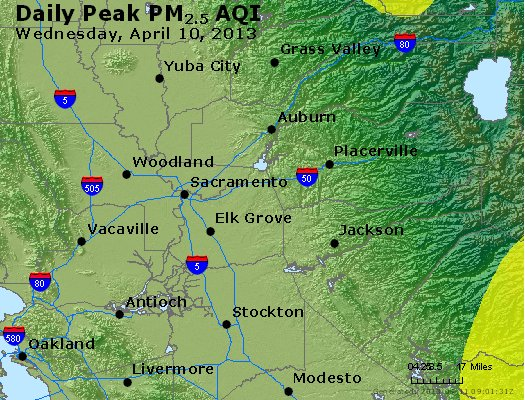 Peak Particles PM<sub>2.5</sub> (24-hour) - http://files.airnowtech.org/airnow/2013/20130410/peak_pm25_sacramento_ca.jpg