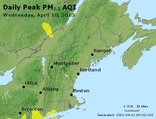 Peak Particles PM<sub>2.5</sub> (24-hour) - http://files.airnowtech.org/airnow/2013/20130410/peak_pm25_vt_nh_ma_ct_ri_me.jpg