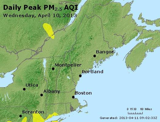 Peak Particles PM<sub>2.5</sub> (24-hour) - http://files.airnowtech.org/airnow/2013/20130410/peak_pm25_vt_nh_ma_ct_ri_me.jpg