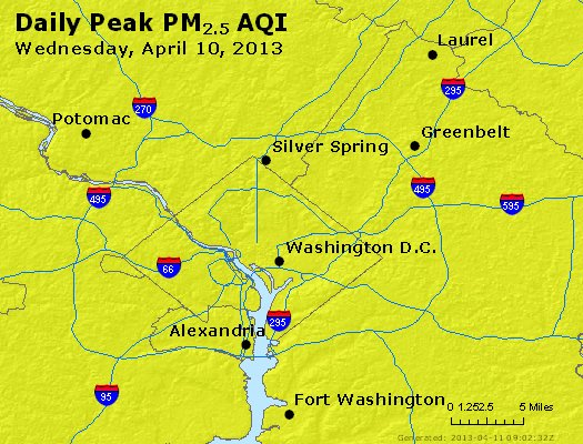 Peak Particles PM<sub>2.5</sub> (24-hour) - http://files.airnowtech.org/airnow/2013/20130410/peak_pm25_washington_dc.jpg