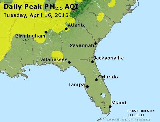 Peak Particles PM<sub>2.5</sub> (24-hour) - http://files.airnowtech.org/airnow/2013/20130416/peak_pm25_al_ga_fl.jpg
