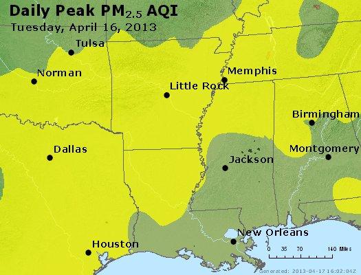 Peak Particles PM<sub>2.5</sub> (24-hour) - http://files.airnowtech.org/airnow/2013/20130416/peak_pm25_ar_la_ms.jpg