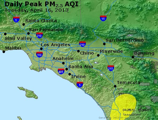 Peak Particles PM<sub>2.5</sub> (24-hour) - http://files.airnowtech.org/airnow/2013/20130416/peak_pm25_losangeles_ca.jpg