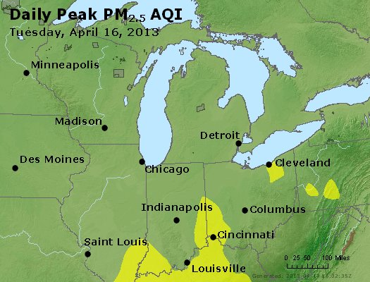 Peak Particles PM<sub>2.5</sub> (24-hour) - http://files.airnowtech.org/airnow/2013/20130416/peak_pm25_mi_in_oh.jpg