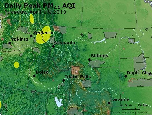 Peak Particles PM<sub>2.5</sub> (24-hour) - http://files.airnowtech.org/airnow/2013/20130416/peak_pm25_mt_id_wy.jpg