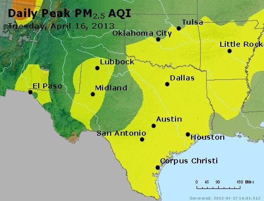 Peak Particles PM<sub>2.5</sub> (24-hour) - http://files.airnowtech.org/airnow/2013/20130416/peak_pm25_tx_ok.jpg