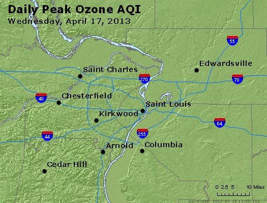 Peak Ozone (8-hour) - http://files.airnowtech.org/airnow/2013/20130417/peak_o3_stlouis_mo.jpg