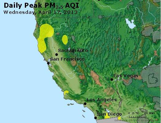 Peak Particles PM<sub>2.5</sub> (24-hour) - http://files.airnowtech.org/airnow/2013/20130417/peak_pm25_ca_nv.jpg