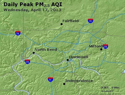 Peak Particles PM<sub>2.5</sub> (24-hour) - http://files.airnowtech.org/airnow/2013/20130417/peak_pm25_cincinnati_oh.jpg