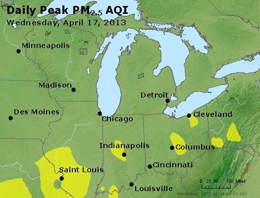 Peak Particles PM<sub>2.5</sub> (24-hour) - http://files.airnowtech.org/airnow/2013/20130417/peak_pm25_mi_in_oh.jpg