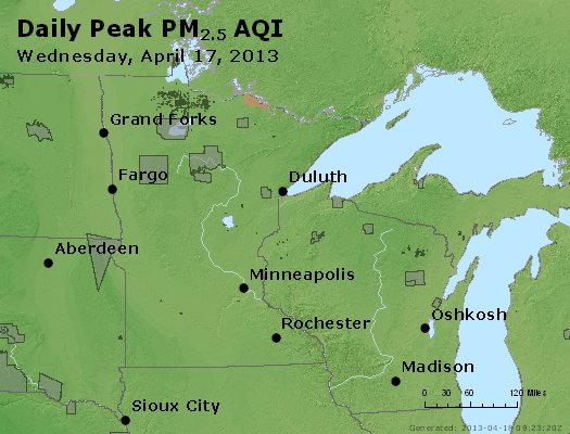 Peak Particles PM<sub>2.5</sub> (24-hour) - http://files.airnowtech.org/airnow/2013/20130417/peak_pm25_mn_wi.jpg