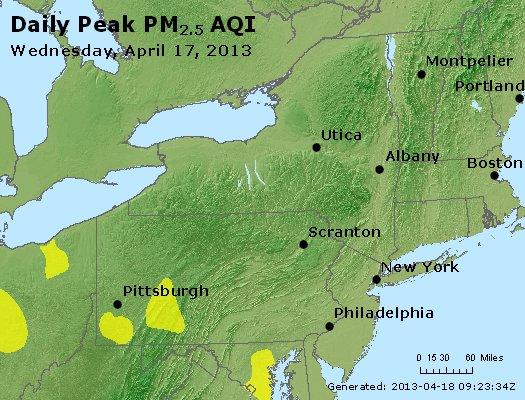 Peak Particles PM<sub>2.5</sub> (24-hour) - http://files.airnowtech.org/airnow/2013/20130417/peak_pm25_ny_pa_nj.jpg