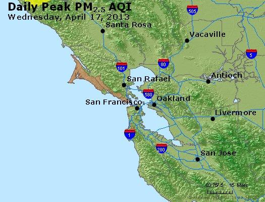 Peak Particles PM<sub>2.5</sub> (24-hour) - http://files.airnowtech.org/airnow/2013/20130417/peak_pm25_sanfrancisco_ca.jpg