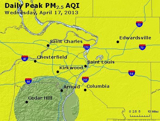 Peak Particles PM<sub>2.5</sub> (24-hour) - http://files.airnowtech.org/airnow/2013/20130417/peak_pm25_stlouis_mo.jpg
