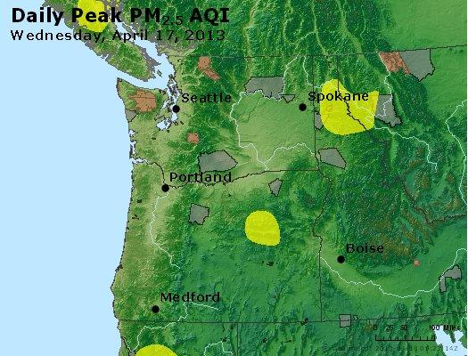 Peak Particles PM<sub>2.5</sub> (24-hour) - http://files.airnowtech.org/airnow/2013/20130417/peak_pm25_wa_or.jpg