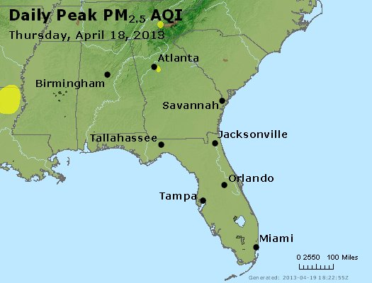 Peak Particles PM<sub>2.5</sub> (24-hour) - http://files.airnowtech.org/airnow/2013/20130418/peak_pm25_al_ga_fl.jpg