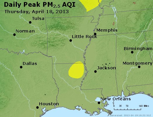 Peak Particles PM<sub>2.5</sub> (24-hour) - http://files.airnowtech.org/airnow/2013/20130418/peak_pm25_ar_la_ms.jpg