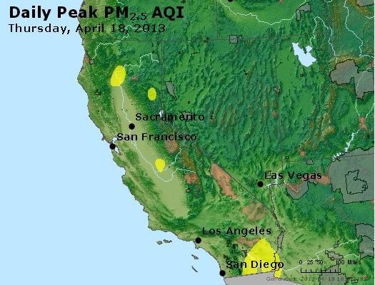 Peak Particles PM<sub>2.5</sub> (24-hour) - http://files.airnowtech.org/airnow/2013/20130418/peak_pm25_ca_nv.jpg