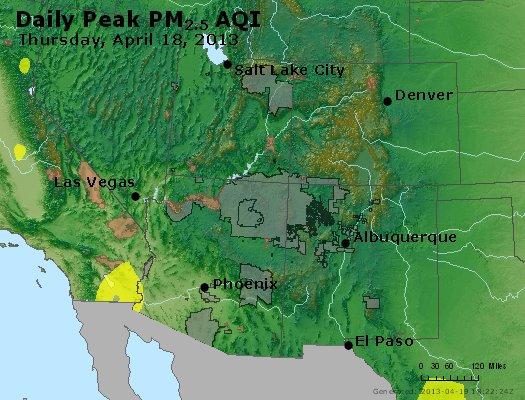Peak Particles PM<sub>2.5</sub> (24-hour) - http://files.airnowtech.org/airnow/2013/20130418/peak_pm25_co_ut_az_nm.jpg
