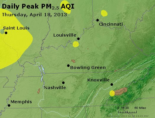 Peak Particles PM<sub>2.5</sub> (24-hour) - http://files.airnowtech.org/airnow/2013/20130418/peak_pm25_ky_tn.jpg