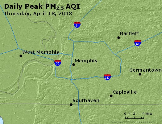 Peak Particles PM<sub>2.5</sub> (24-hour) - http://files.airnowtech.org/airnow/2013/20130418/peak_pm25_memphis_tn.jpg
