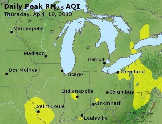 Peak Particles PM<sub>2.5</sub> (24-hour) - http://files.airnowtech.org/airnow/2013/20130418/peak_pm25_mi_in_oh.jpg