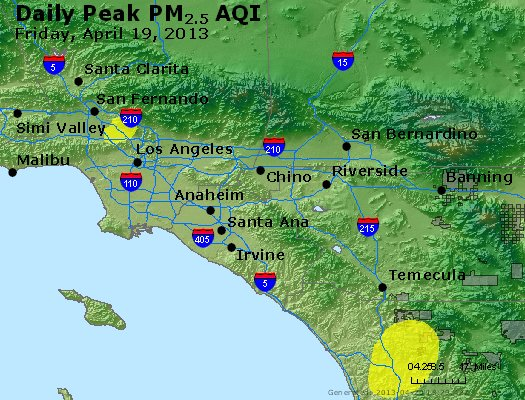 Peak Particles PM<sub>2.5</sub> (24-hour) - http://files.airnowtech.org/airnow/2013/20130419/peak_pm25_losangeles_ca.jpg