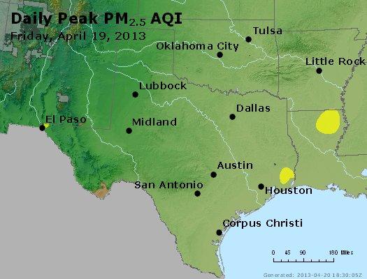 Peak Particles PM<sub>2.5</sub> (24-hour) - http://files.airnowtech.org/airnow/2013/20130419/peak_pm25_tx_ok.jpg