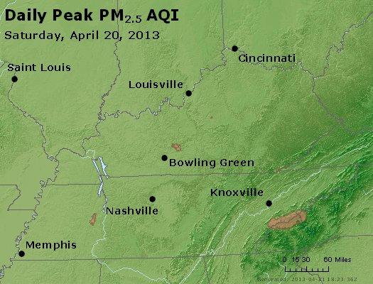 Peak Particles PM<sub>2.5</sub> (24-hour) - http://files.airnowtech.org/airnow/2013/20130420/peak_pm25_ky_tn.jpg