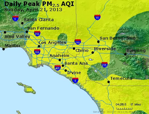Peak Particles PM<sub>2.5</sub> (24-hour) - http://files.airnowtech.org/airnow/2013/20130421/peak_pm25_losangeles_ca.jpg