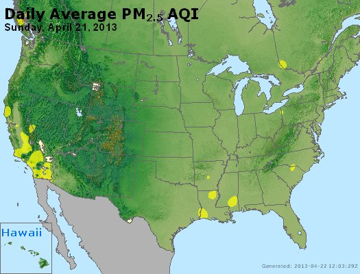 Peak Particles PM<sub>2.5</sub> (24-hour) - http://files.airnowtech.org/airnow/2013/20130421/peak_pm25_usa.jpg