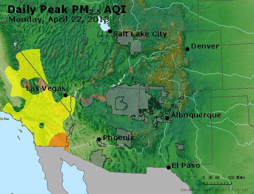 Peak Particles PM<sub>2.5</sub> (24-hour) - http://files.airnowtech.org/airnow/2013/20130422/peak_pm25_co_ut_az_nm.jpg