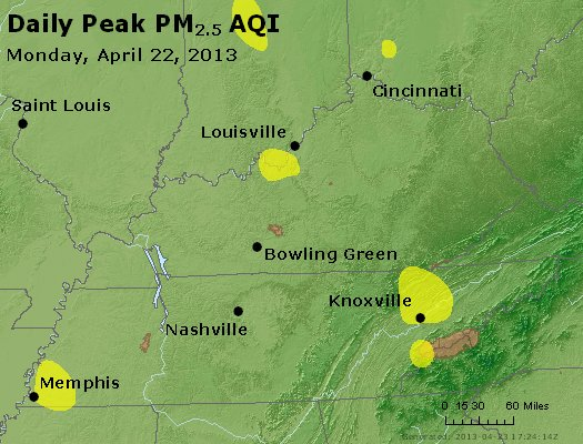 Peak Particles PM<sub>2.5</sub> (24-hour) - http://files.airnowtech.org/airnow/2013/20130422/peak_pm25_ky_tn.jpg