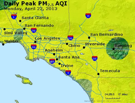 Peak Particles PM<sub>2.5</sub> (24-hour) - http://files.airnowtech.org/airnow/2013/20130422/peak_pm25_losangeles_ca.jpg