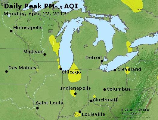 Peak Particles PM<sub>2.5</sub> (24-hour) - http://files.airnowtech.org/airnow/2013/20130422/peak_pm25_mi_in_oh.jpg