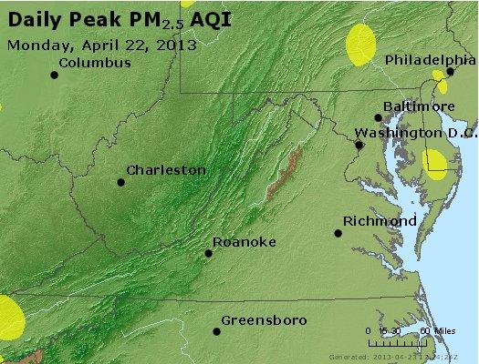 Peak Particles PM<sub>2.5</sub> (24-hour) - http://files.airnowtech.org/airnow/2013/20130422/peak_pm25_va_wv_md_de_dc.jpg