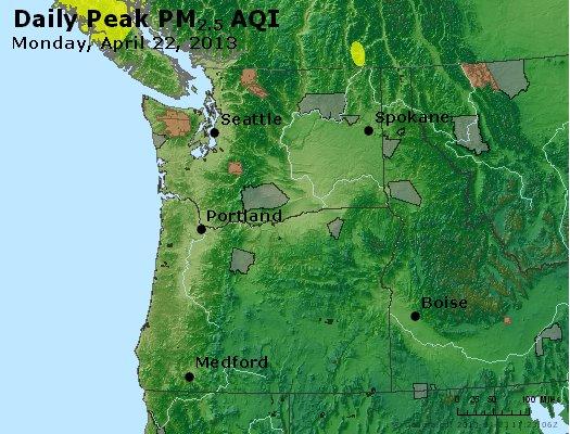 Peak Particles PM<sub>2.5</sub> (24-hour) - http://files.airnowtech.org/airnow/2013/20130422/peak_pm25_wa_or.jpg