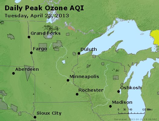 Peak Ozone (8-hour) - http://files.airnowtech.org/airnow/2013/20130423/peak_o3_mn_wi.jpg