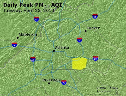 Peak Particles PM<sub>2.5</sub> (24-hour) - http://files.airnowtech.org/airnow/2013/20130423/peak_pm25_atlanta_ga.jpg