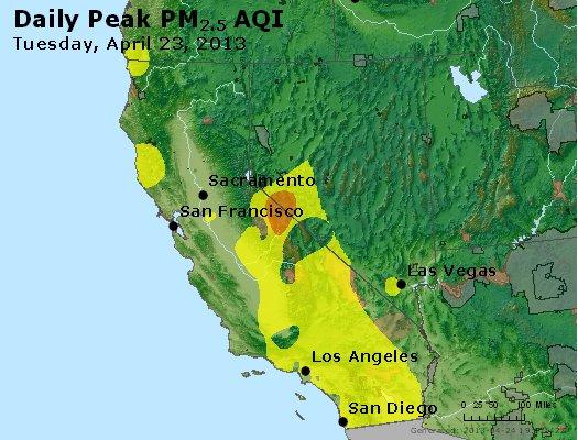 Peak Particles PM<sub>2.5</sub> (24-hour) - http://files.airnowtech.org/airnow/2013/20130423/peak_pm25_ca_nv.jpg