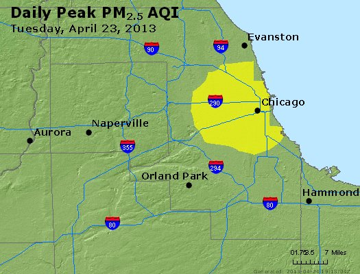 Peak Particles PM<sub>2.5</sub> (24-hour) - http://files.airnowtech.org/airnow/2013/20130423/peak_pm25_chicago_il.jpg