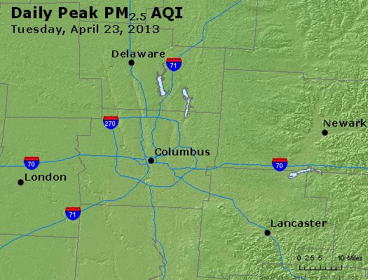 Peak Particles PM<sub>2.5</sub> (24-hour) - http://files.airnowtech.org/airnow/2013/20130423/peak_pm25_columbus_oh.jpg
