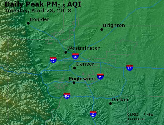 Peak Particles PM<sub>2.5</sub> (24-hour) - http://files.airnowtech.org/airnow/2013/20130423/peak_pm25_denver_co.jpg