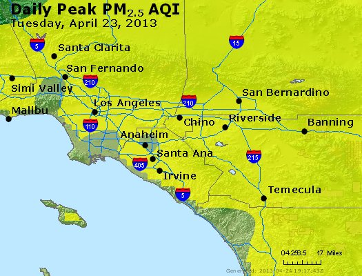 Peak Particles PM<sub>2.5</sub> (24-hour) - http://files.airnowtech.org/airnow/2013/20130423/peak_pm25_losangeles_ca.jpg