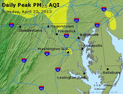 Peak Particles PM<sub>2.5</sub> (24-hour) - http://files.airnowtech.org/airnow/2013/20130423/peak_pm25_maryland.jpg