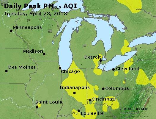 Peak Particles PM<sub>2.5</sub> (24-hour) - http://files.airnowtech.org/airnow/2013/20130423/peak_pm25_mi_in_oh.jpg