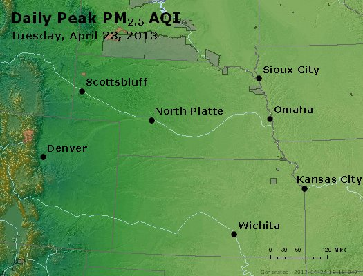 Peak Particles PM<sub>2.5</sub> (24-hour) - http://files.airnowtech.org/airnow/2013/20130423/peak_pm25_ne_ks.jpg