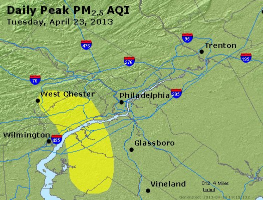 Peak Particles PM<sub>2.5</sub> (24-hour) - http://files.airnowtech.org/airnow/2013/20130423/peak_pm25_philadelphia_pa.jpg