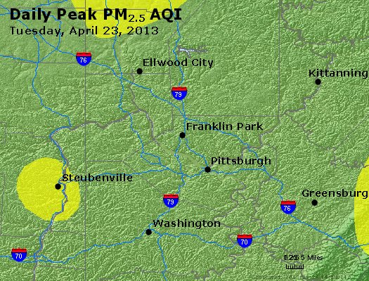 Peak Particles PM<sub>2.5</sub> (24-hour) - http://files.airnowtech.org/airnow/2013/20130423/peak_pm25_pittsburgh_pa.jpg