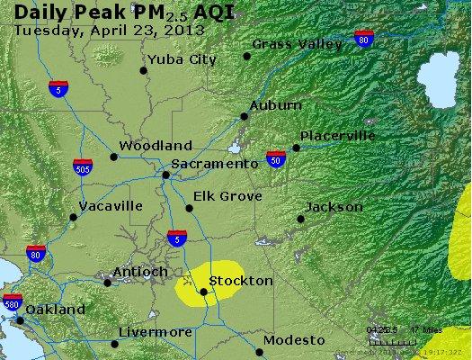 Peak Particles PM<sub>2.5</sub> (24-hour) - http://files.airnowtech.org/airnow/2013/20130423/peak_pm25_sacramento_ca.jpg